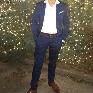 Zara men's suit and shirt fall winter holiday office navy blue